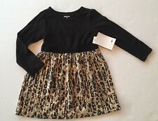 NWT Amy Coe Size 2T Black Knit Jersey Dress with Leopard Skirt & Gold Sequins