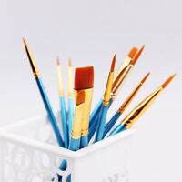 10pcs Synthetic Paint Brush Painting Crafting Wooden Model Paint Brushes kit