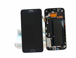 Genuine Black Samsung SM-G925F Galaxy S6 Edge Screen Amoled LCD Fram Display