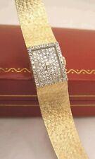 REDUCED! Omega Ladies Pave Diamond Dial Bezel Mesh 14 K Gold Case Watch w Box