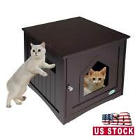 Cat Litter Box Cat House Hidden End Table Nightstand Cat Washroom Indoor Brown