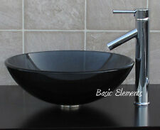 Bathroom Clear Black Glass Vessel Vanity Sink  With ChromeFaucet  combo 12.5C01