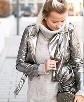 ZARA Silver Futuristic Metallic Leather Biker Jacket With Zip Studded Small S