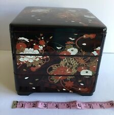Japanese Yamanaka Box Bento Container Lacquer Ware 3 Tiers Storage