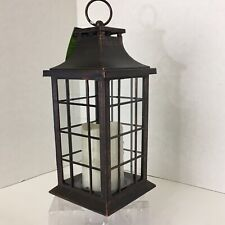 """Gardenline Lantern Brown Rustic Antique Look LED Flameless Candle Timer 12"""" Tall"""