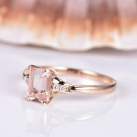 Natural Emerald Cut Pink Morganite Solitaire Engagement Ring 14k Rose Gold Finis