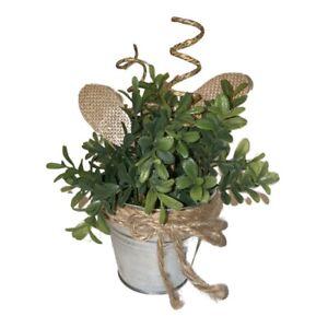 New Artificial Flowers Arrangement Bamboo Leaves Silver Pot Mini Centerpiece