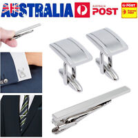 Mens Business Wedding Shirt Cufflinks Necktie Tie Clip Pin Clasp SILVER AU Stock