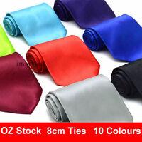 Mens Plain 8cm wide ties Wedding Neckties Formal Solid regular standard size tie