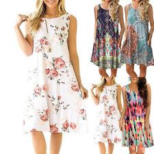 Summer Womens Sleeveless Swing Vest Dresses Ladies Casual Floral Midi Boho Dress