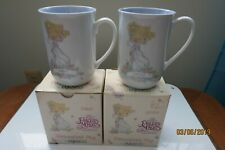 2 Precious Moments 1989 Dawn & Sister Porcelain with orig. Boxes Coffee Tea Cups