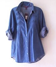 NEW~$44~GLORIA VANDERBILT~Medium Wash Denim Shirt Blouse Top~12/14/L/Large