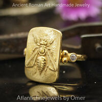 Sterling Silver Bee Coin Ring Roman Art 24k Gold Vermeil Handcrafted Jewelry