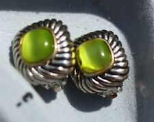 Clip on EARRINGS not signed, green cabochons