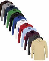 Herren Einfarbig Baumwolle Langärmelig Pique Polohemd - Kein Logo