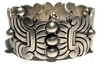 HECTOR AGUILAR TAXCO MEXICO STERLING SILVER MODERNIST ARTISAN BRACELET 102 GRAMS