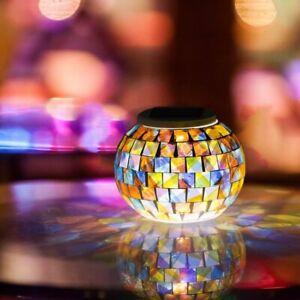 LED Solar Powered Glass Mosaic Ball Lights Outdoor Garden Table Night Lamp Decor