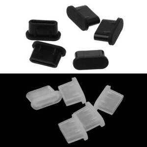 5PCS Type-C Dust Plug USB Charging Port Silicone Protector Cover for Smart Phone