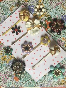 Anthropologie : Vintage Embellished Hair Grips Floral Knots Gold Yellow Diamante
