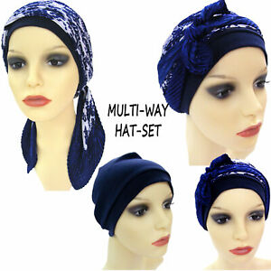 HEADWEAR FOR HAIR LOSS DUE TO CHEMO OR ALOPECIA.   BEANIE HAT AND SCARF SET. NAV
