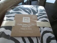 Pottery Barn Teen Funky Zebra XL sheet set  black  New with tags