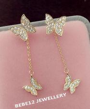 2 Ways Wear/Stud&Long/Simulated Diamond/Butterfly Earring/RGE687