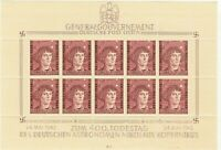Stamp Germany Poland General Gov't Mi 104 Sheet 1943 WWII Reich Copernicus MNH