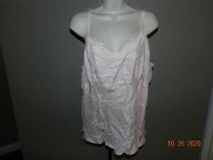 Avenue Womans Sz 18/20 Sleeveless Tank Top Shell Cami Shirt 100% Silk pink