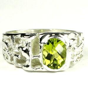 PERIDOT Sterling Silver Men's Ring, Handmade • SR197