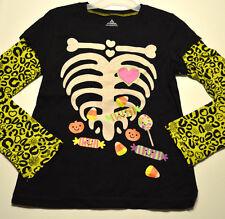 Girl's Halloween Glitter Skeleton Bones Long Sleeve Top Sizes S (6-6X), M (7-8)