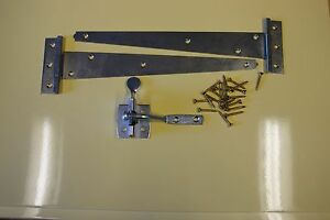 gate fixing set 12 inch tee hing and a auto latch in bzp with all fixings £7.55