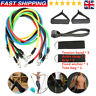 11Pcs Set Resistance Bands Workout Exercise Crossfit Fitness Yoga Training Tube~