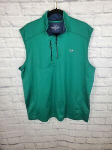 VINEYARD VINES Mens Fleece Vest Jacket Green Medium Golf 1/4 Zip Pullover