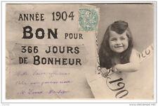Nouvel An 1904 - Bon pour 366 jours de Bonheur - dos simple - voyagé 1905