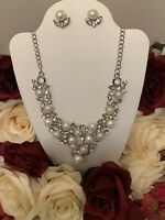 Betsey Johnson white crystal charm pearl pendant silver necklace earrings set