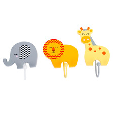 Handcrafted Wooden Safari Animals Childrens Coat Hooks by Tinkie Toys Elephant