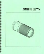 Konica Zoom Hexanon AR 80-200mm F4 Lens Service & Repair Manual Reprint