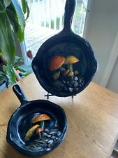 New listing Set of Vintage Ceramic cast iron pan style with mushrooms wall decor