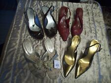 LOT OF 4 PAIRS OF WOMEN'S MIXED & MATCH HIGH HEEL DESIGNER STYLE SHOES SIZE(10)
