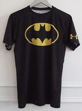 Under Armour L UA Heat Gear Black Bat Man DC Comics Compression S/S Shirt