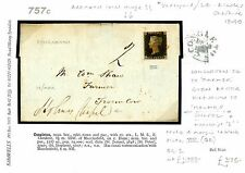 DB757c 1840 GB PENNY BLACK CHESHIRE Plate VIII(QE) Cover Directed*Holmes Chapel*