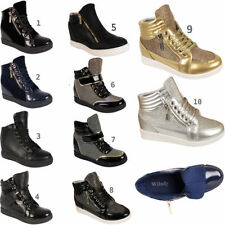 Faux Suede Zip Wedge Trainers for Women
