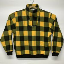 Trader Bay Size XL 1/4 Zip Pullover Sweater Yellow Black Checker Fleece