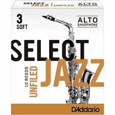 D'Addario 10 PACK Select Jazz Alto Saxophone Unfiled Reeds 3S 3 Soft
