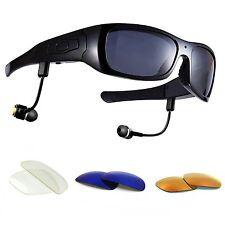 Spy Hidden Sunglasses Camera Bluetooth HD Video Recorder Black + 3 Color Lens