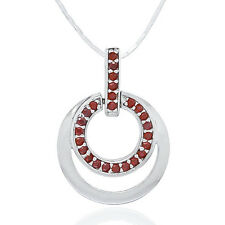 Sterling Silver Double Circle Pendant Necklace with Garnet CZ #90056
