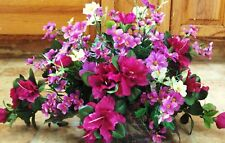 Purple Silk Flower Table Arrangement Violet Wicker Basket Office Hotel High End