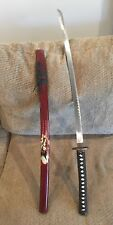 "KATANA SAMURAI HAND-FORGED SWORD 40.5"" OVERALL ORIENTAL PAINTED WOOD SCABBARD"
