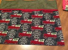 Homemade Soft Flannel Christmas Red Truck Pillowcase -w/ Green Cotton Band