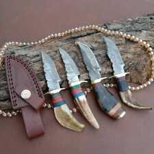 """6""""MH KNIVES RAM & STAG HORN DAMASCUS STEEL LOT OF 4 HUNTING/SKINNER KNIFE LOT-72"""